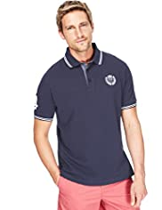 "2"" Longer Blue Harbour Pure Cotton Striped Trim Polo Shirt"