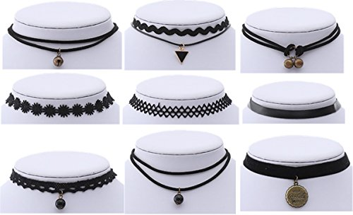 Backgarden Set of 9 Black Choker Necklace Set Stretch Velvet Classic Gothic Tattoo Lace Choker Necklaces for Women Girls Teens