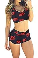 Amour Women's Lace Trimmed Bikini Top and Bottom Swimwear