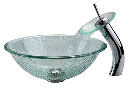 Kraus C-GV-950-12mm-10CH Broken Glass Vessel Sink and Waterfall Faucet, Chrome