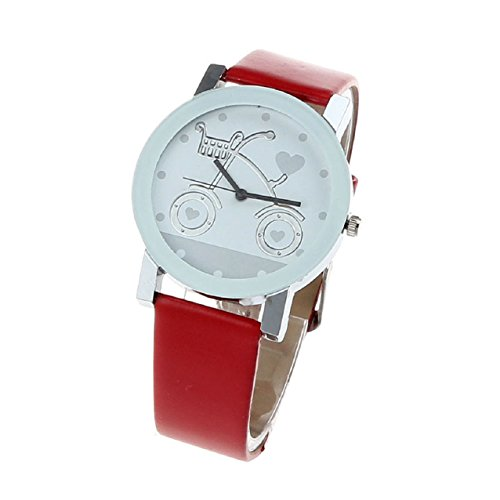 Suppion Girl Cute Bicycle Pattern Dial Leather Band Quartz Analog Wrist Watch