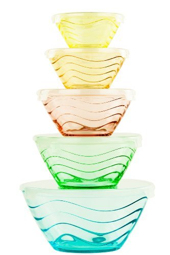 All Purpose Glass Bowl and Food Storage Containers 10 Pcs Set - Glass Lunch Bowls Set with Snap Tight Lids (Wave Design) (Glass Bowl Set Lids compare prices)