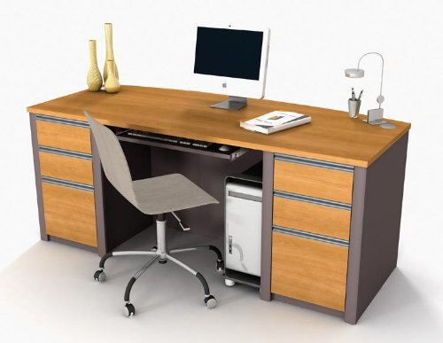 Bestar Office Furniture Bow Front Double Pedestal Executive Desk 93850