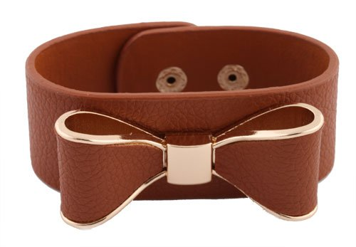 Brown with Gold Genuine Leather Bow Style Adjustable Snap Bracelet
