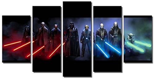 Picture Sensations® Framed Canvas Art Print, Star Wars Darth Vader Luke Skywalker Yoda Darth Maul Lightsaber Canvas Art - 60