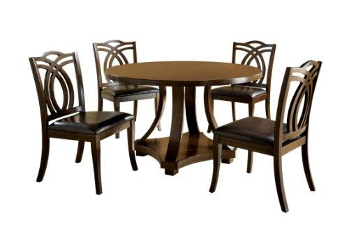 Fresh Furniture of America Fluxeur Piece Round Dining Table Set Dark Walnut