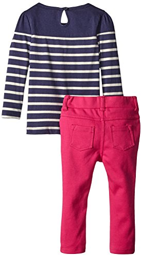 Nautica Baby Girls' Teddy Fur Jacket Stripe Tee with Knit Pant, Cream, 12 Months