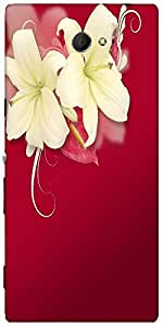 Snoogg Red Flourish Designer Protective Back Case Cover For Sony Xperia M2