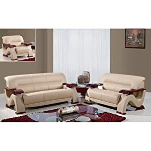 Global Furniture Usa 2033 Cap 3 Piece Bonded Leather Living Room