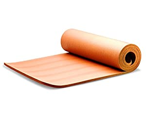 "Yes4all Premium 1/2"" Extra Thick with 72"" X 24"" High Density Durable Close-foam Tech Exercise Yoga Mat with Carry Strap Best Quality in Class, Classical Orange, 24"" L"