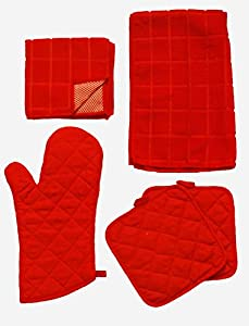 Oven Mitt Set - Quilted Oven Mitt, 2 Pot Holders, 1 Kitchen Towel, 2 Microfiber Scrubbers - Quilted Pattern Mitten and Pot Holders - Heat Resistant Insulated Glove - Cute Christmas Gift - Hanging Hook Loop