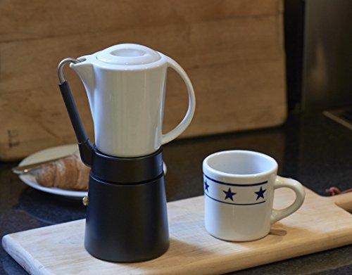 Aerolatte Cafe Porcellana Stove Top Espresso Maker, 4-Cup, Black