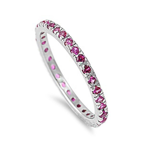 1.00 CT Sterling Silver Rhodium Plated Round Pink Sapphire CZ Cubic Zirconia Ladies Eternity Stackable Ring Wedding Anniversary Band (Available in size 6, 7, 8) size 5