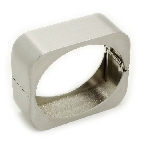 Stylish Silver Tone Metal Rectangle Hinged Bangle / Bracelet / Cuff