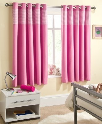 Ready Made Eyelet Thermal Blackout Curtains with Gingham Check Detail Panel. Colour and Size: Baby Pink 168cm (66