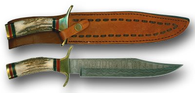 Damascus Fighting Bowie Knife With Sheath
