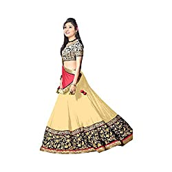 Khazanakart Exclusive Designer Beige Color Georgette Fabric Un-stitched Lehenga Choli With Chiffon Dupatta Material.
