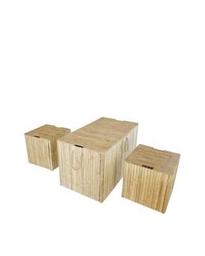 ZEW, Inc. Trunk Box Set Of 3 Without Cushion, Natural