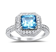 buy Sterling Silver Blue Topaz Ring Princess Square Aascher Cut