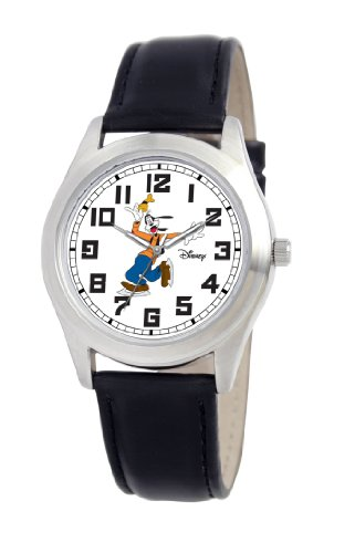 Disney Men's D140S002 Goofy Black Leather Strap Watch