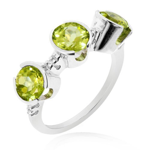 LenYa Special - Stunning new design, Anniversary Rhodium Plated Silver Ring with Round Peridot, Round Cubic Zirconia, (Ring Size 6.75)