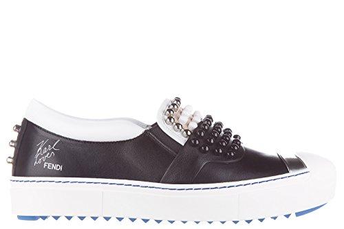Fendi-slip-on-femme-en-cuir-sneakers-noir