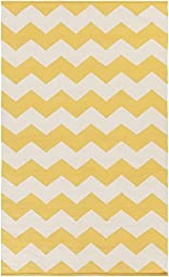 Yellow Rug Modern Striped Design 9-Foot x 12-Foot Cotton Flat-Woven Chevron Dhurry