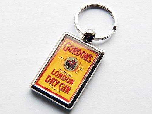 Moody Motorz discount duty free GORDONS GIN Label Alcohol Spirit Drink Quality Chrome Keyring Picture on Both Sides