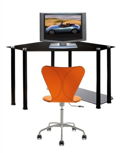 RTA Home And Office CT-013B Corner Computer Desk in Black Glass