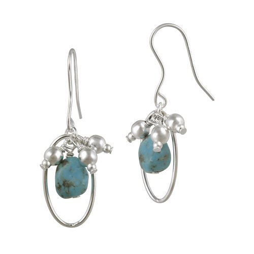 Sterling Silver Link and Turquoise Drop French Wire Earrings