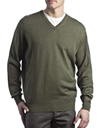 Great and British Knitwear Mens 100% Merino Wool V-Neck Pullover-Landscape-Large