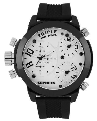 CEPHEUS - CP902-682 - Montre Homme - Quartz Analogique - Bracelet Silicone Noir