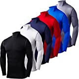 Men's Boys PowerLayer Compression Base Layer / Baselayer Top Long Sleeve Under Shirt - Mock Neck