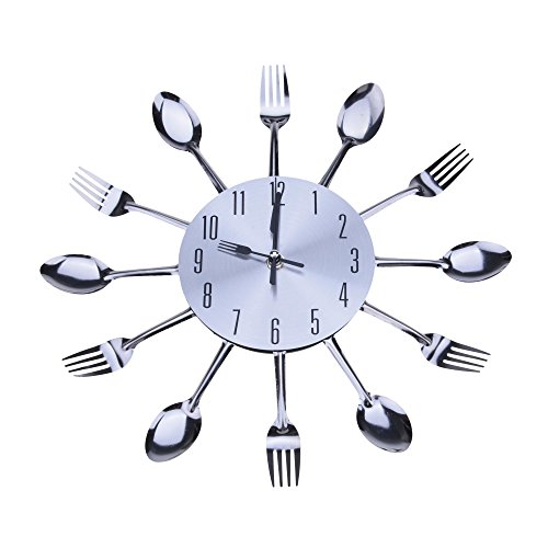 Cute Modern Design Silver Cutlery Kitchen Utensil Wall Clock Spoon Fork Clock
