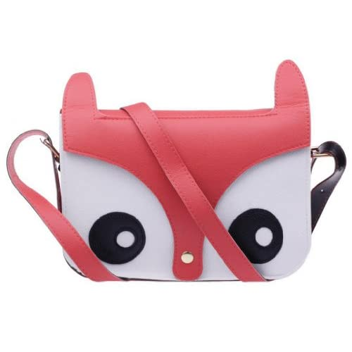 Aokeshen Charm Pink Retro Shoulder Bag Messenger School Tote Owl Fox PU Purse Womens Ladies Handbag New Arrive
