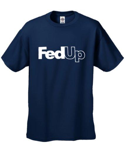 Cool Men'S T-Shirt - Fed Up - Short Sleeve Tee - Blue -Xl