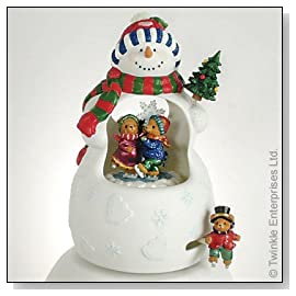 Fabulous Ceramic Snowman Animated Figurine from Twinkle