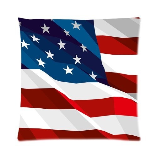 Personalized America Flag Picture Zippered Throw Pillow Cover Cushion Case 16X16 (One Side) back-1001150