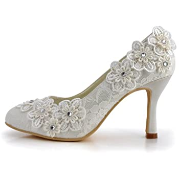 ElegantPark Women Vintage Closed Toe Pumps High Heel Flowers Lace Wedding Bridal Dress Shoes