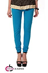 Women's solid Sky Cotton-Lycra Leggings/Churidars
