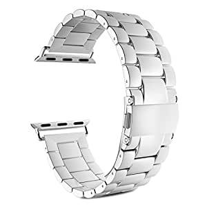 Apple Watch Band, MoKo Stainless Steel Metal Replacement Smart Watch Band Bracelet with Double Button Folding Clasp for 42mm Apple Watch All Models - SILVER (Not Fit iWatch 38mm Version 2015)