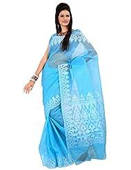 Asavari Blue Pure Cotton Moonga Chek Handloom Banarasi Saree