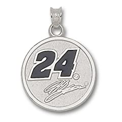LogoArt Jeff Gordon Sterling Silver Enamel 3 4 Round Pendant - Jeff Gordon Each by Logo Art