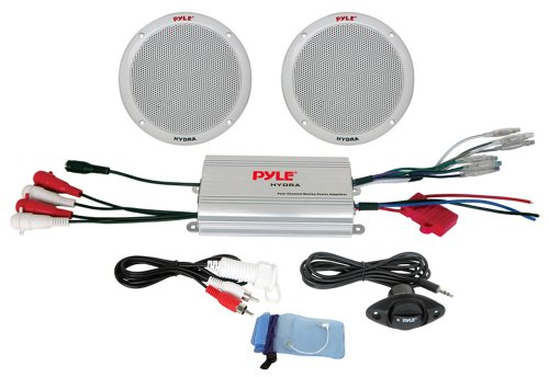 Pyle Plmrkt2A 2-Channel Waterproof Mp3/Ipod Amplified 6.5-Inch Marine Speaker System