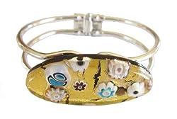 Gold Flower Venetian Murano Glass Bracelet