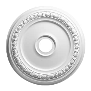 Focal Point 83431 31-Inch Shell and Bellflower Medallion 31-Inch by 31-Inch by 1 1/2-Inch, Primed White