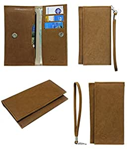 Jo Jo A5 Nillofer Leather Wallet Universal Pouch Cover Case For Lava M40 Tan