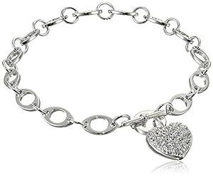 "Sterling Silver Pave-Set Cubic Zirconia Heart Bracelet, 7.25"""