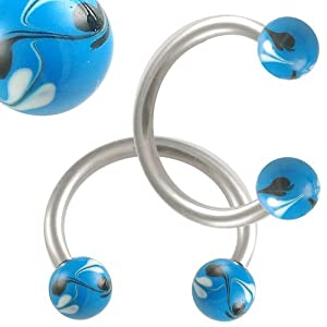 16g 16 gauge 1.2mm 3/8 10mm steel eyebrow lip bars ear tragus horseshoe rings circular barbells hand painted balls AGDW Body Piercing Jewellery 2pcs