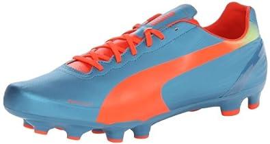 PUMA Men's Evospeed 4.2 Firm Ground Soccer Shoe,Sharks Blue/Fluorescent Peach/Fluorescent Yellow,7 M US